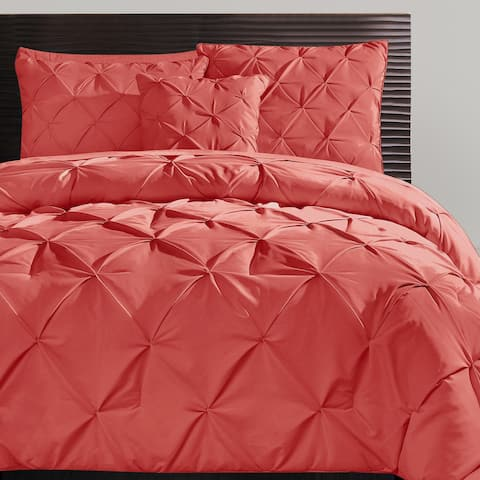 VCNY Carmen Pintuck Tufted Solid Color 4-piece Comforter Set