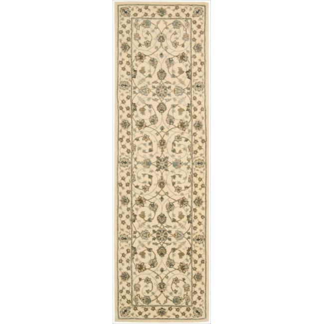 Nourison 2000 Hand-tufted Tabriz Ivory Rug (2'3 x 8)