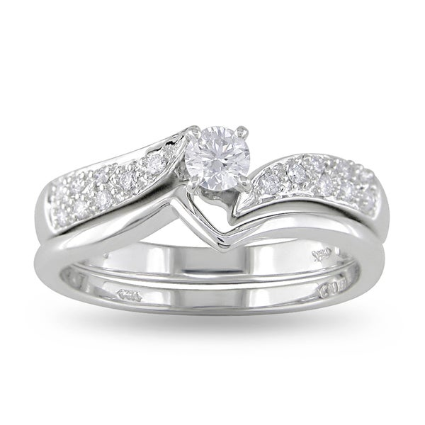 Miadora 10k White Gold 1/3ct TDW Diamond Bridal Ring Set (H-I, I2-I3)