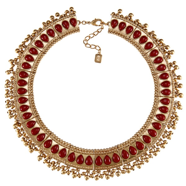 Ralph Lauren Red Plastic Bead Bib Necklace