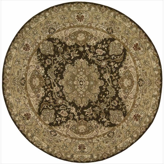 Nourison 2000 Hand-tufted Tabriz Chocolate Rug (4 x 4) Round