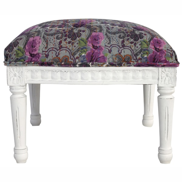 nuLOOM Casual Living Floral Multi Ottoman