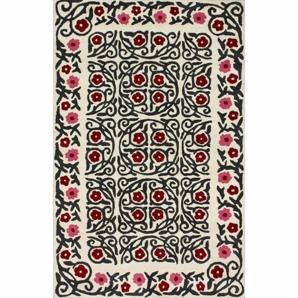 nuLOOM Handmade Spanish Steps Ivory Wool Rug (7'6 x 9'6)