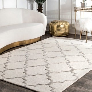 nuLOOM Handmade Moroccan Trellis Faux Silk Wool Rug (9' x 12') - 9' x 12'