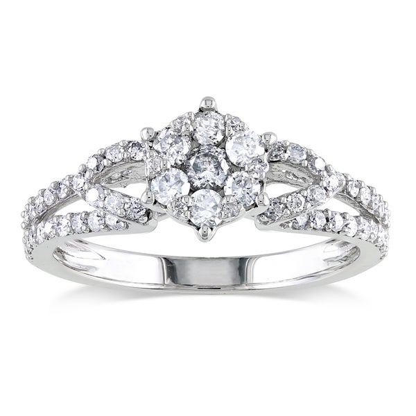 Miadora 10k White Gold 1/2ct TDW Diamond Cluster Ring