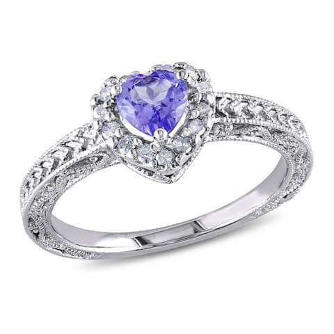 Miadora Sterling Silver Tanzanite and 1/6ct TDW Diamond Ring (H-I, I3)