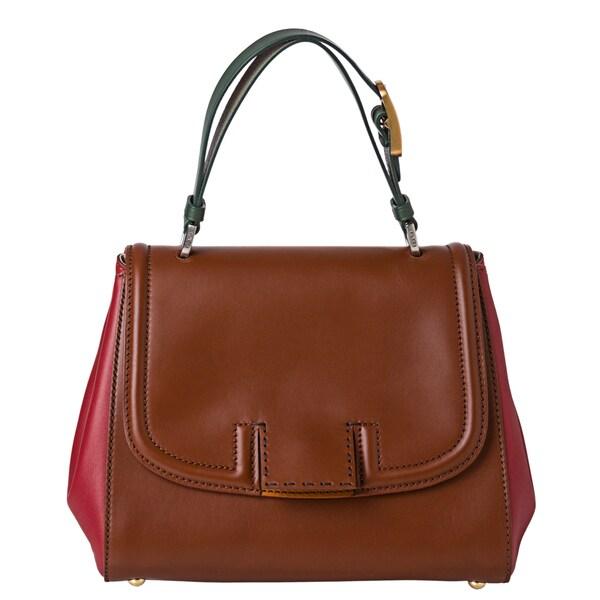 Fendi Brown/ Red/ Green Leather Handbag