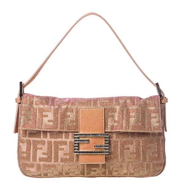 Fendi Shimmer Zucca Baguette Handbag