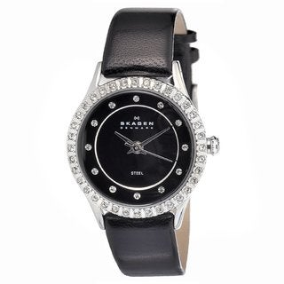 Skagen Women's Stainless Steel Black Leather Strap Watch
