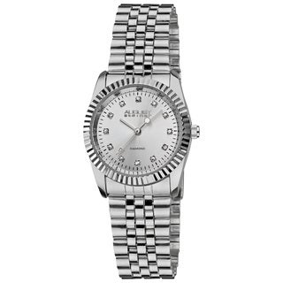 August Steiner Women's Diamond Stainless Steel Silver-Tone Bracelet Watch