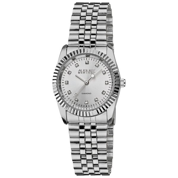August Steiner Women's Diamond Stainless Steel Silver-Tone Bracelet Watch with FREE GIFT