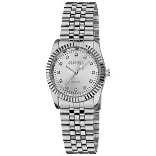August Steiner Women's Diamond Stainless Steel Silver-Tone Bracelet Watch with FREE Bangle