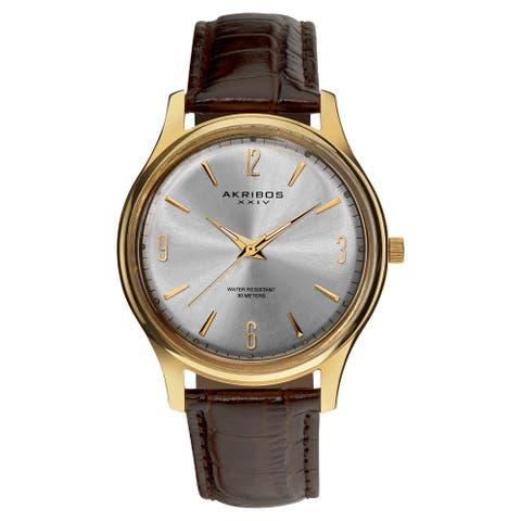 Akribos XXIV Men's Stainless Steel Swiss Quartz Gold-Tone Strap Watch