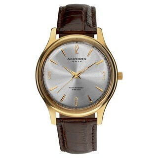 Akribos XXIV Men's Stainless Steel Swiss Quartz Gold-Tone Strap Watch