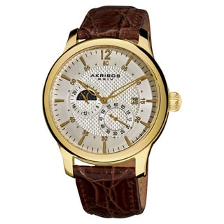 Akribos XXIV Men's Water-Resistant Stainless Steel Automatic Multifunction Gold-Tone Strap Watch with Gift Box