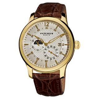Akribos XXIV Men's Water-Resistant Stainless Steel Automatic Multifunction Gold-Tone Strap Watch