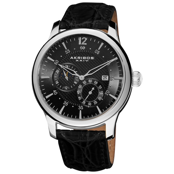 Akribos XXIV Men's Stainless Steel Automatic Multifunction Black Strap Watch