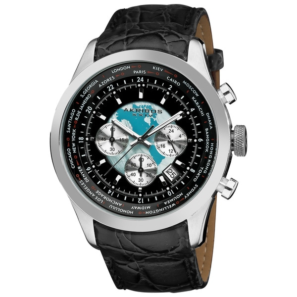 Akribos XXIV Men's Stainless Steel Leather Strap Silver-Tone Chronograph Watch