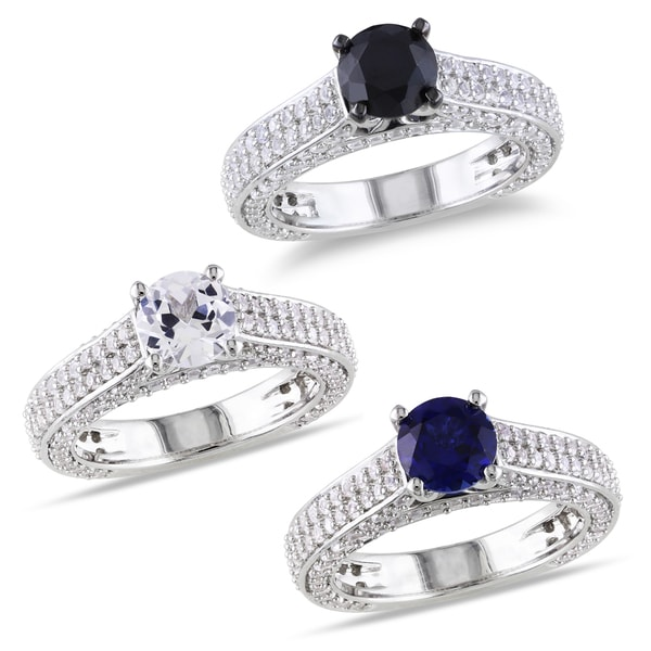Miadora Sterling Silver  Black Spinel or Sapphire Round-cut Engagement Ring
