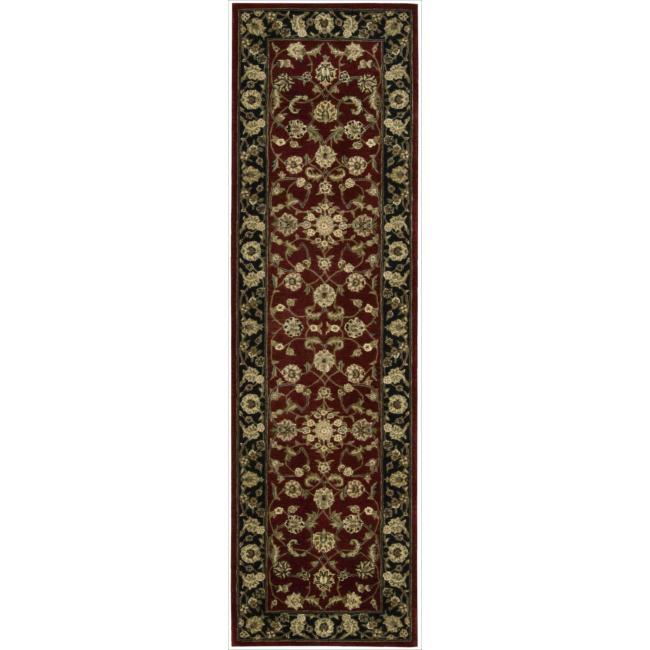 Nourison 2000 Hand-tufted Burgundy Tabriz Rug (2'3 x 8)