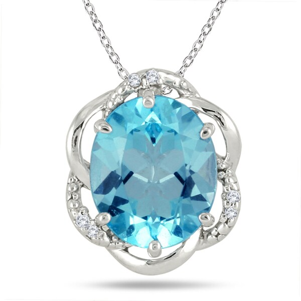 Marquee Jewels Sterling Silver 5 1/4ct TGW Blue Topaz and Diamond Accent Necklace