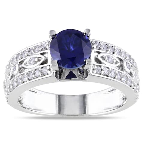 Miadora Sterling Silver Created Blue and White Sapphire Infinity Engagement Ring