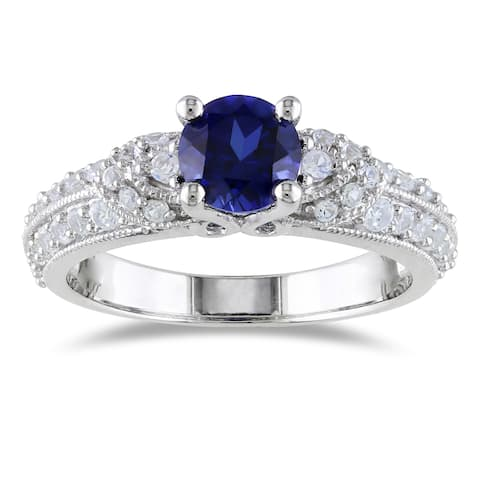 Miadora Sterling Silver Black Spinel or Sapphire Engagement Ring