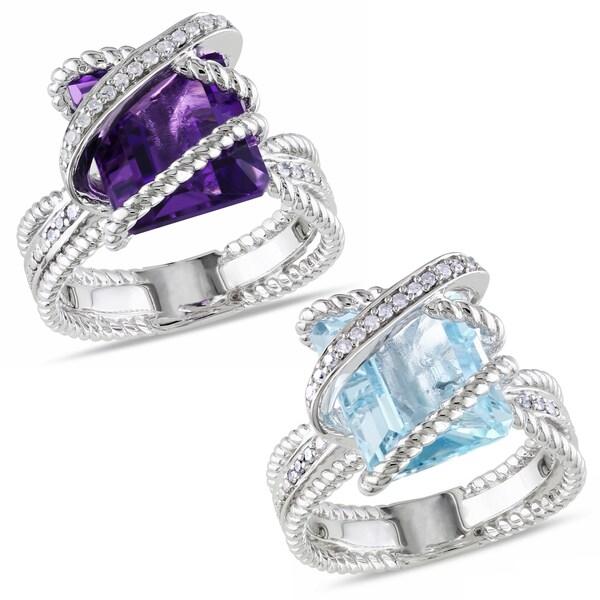 Miadora Sterling Silver Gemstone and 1/10ct TDW Diamond Ring (H-I, I2-I3)