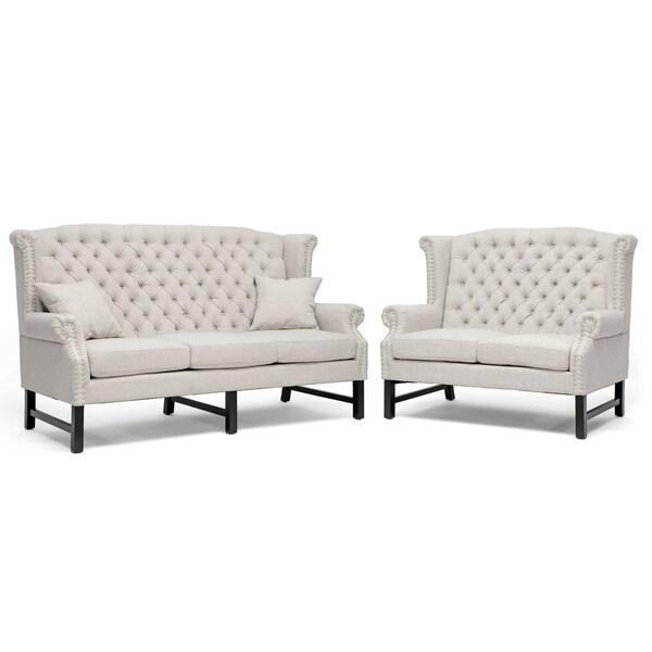 Sussex Beige Linen Sofa Set