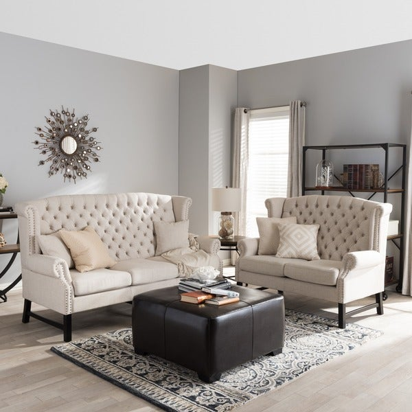 Sussex Beige Linen Sofa Set