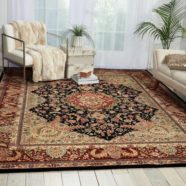 Nourison 2000 Hand-tufted Tabriz Black Rug (7'9 x 9'9)