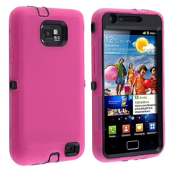 BasAcc Black/ Hot Pink Hybrid Case for Samsung© Galaxy S II/ S2 i9100