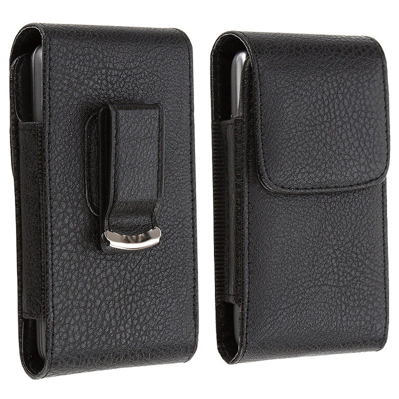 INSTEN Black Universal with Belt Clip Leather Phone Case Cover with Magnetic Flap for HTC/ LG/ Motorola/ Nokia
