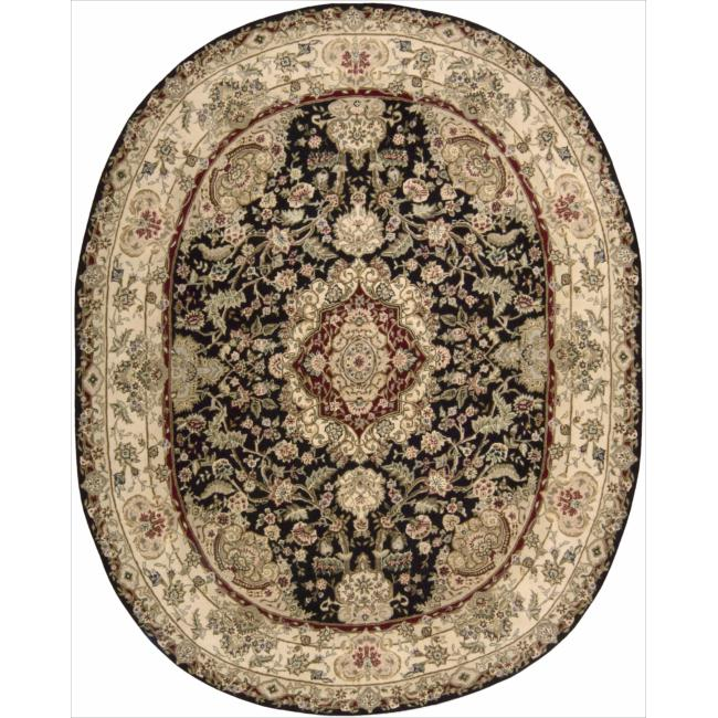 "Nourison 2000 Traditional Hand-Tufted Tabriz Black Rug (7'6"" x 9'6"" Oval)"