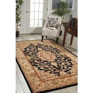 Floral Nourison 2000 Hand-Tufted Tabriz Black Rug (5'6 x 8'6)