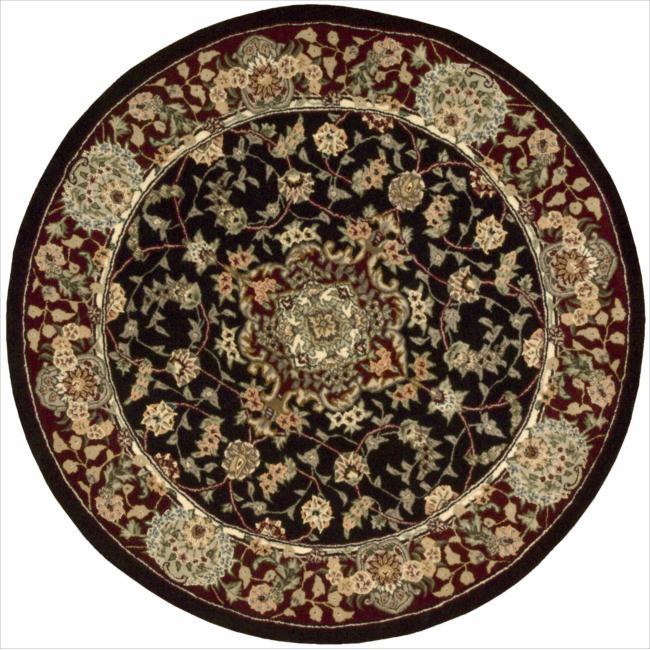 Nourison 2000 Hand-Tufted Tabriz Round Black Floral Rug (4' x 4')