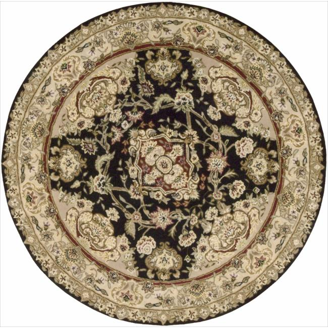 Nourison 2000 Hand-tufted Tabriz Black Rug (4 x 4) Round