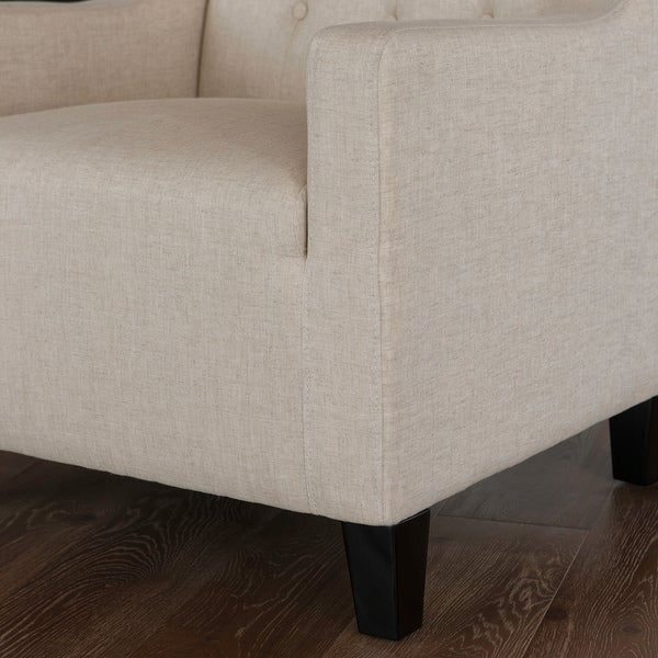 Elaine Beige Tufted Fabric Club Chair With Ottoman By Christopher Knight  Home   Free Shipping Today   Overstock.com   14738640