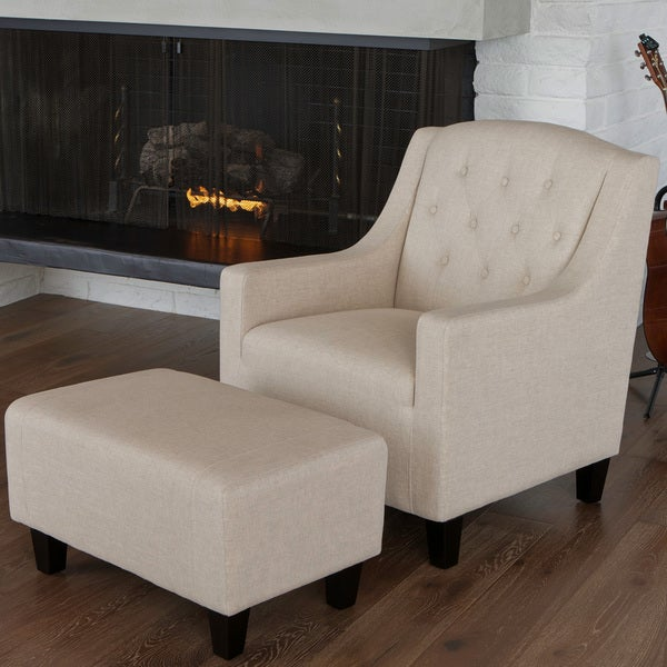 Elaine Beige Tufted Fabric Club Chair with Ottoman by Christopher Knight Home
