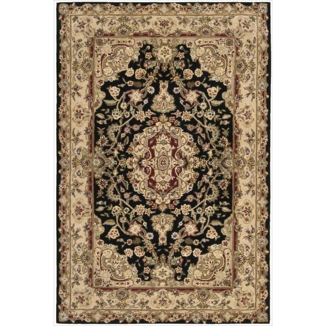 Nourison 2000 Hand-tufted Tabriz Black Rug (3'9 x 5'9)