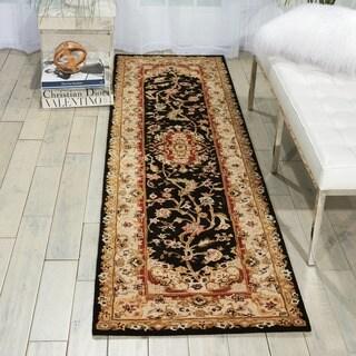 "Nourison 2000 Traditional Hand-Tufted Tabriz Black Rug (2'6"" x 12')"