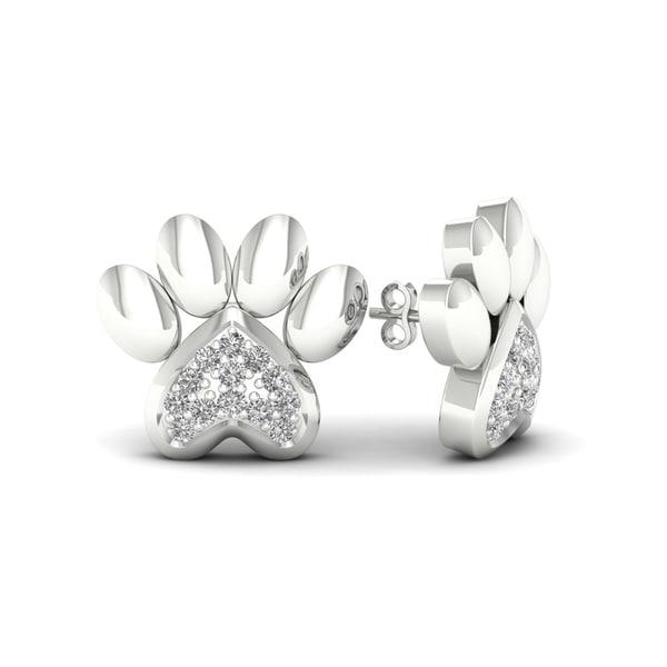 De Couer Igi Certified 10k White Gold Diamond Accent Dog Paw Print Earrings