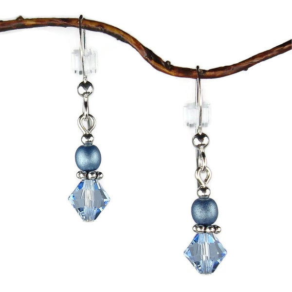 Handmade Jewelry by Dawn Small Blue Bicone Double Bead Sterling Silver Earrings (USA)