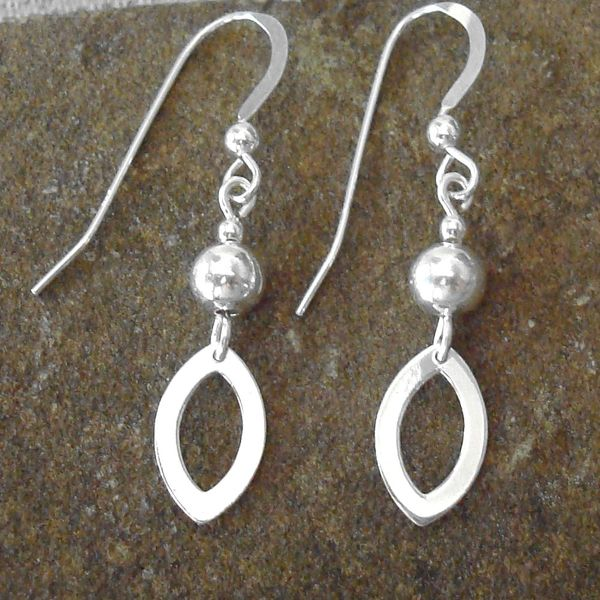 Jewelry by Dawn Silver Bead With Open Marquis Drop Sterling Silver Earrings