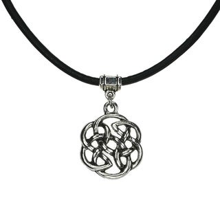 Handmade Jewelry by Dawn Celtic Knot Greek Leather Necklace - Black/ silver (2 options available)