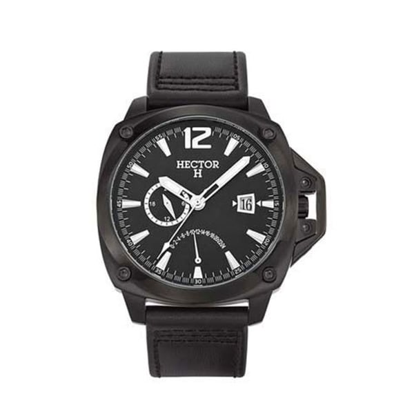 Hector H France Men's Classic Black Dial Leather Strap Date Watch