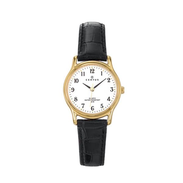 Certus Paris Women's Brass Black Calfskin White Dial Watch