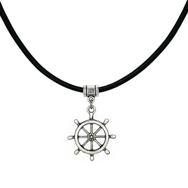 Jewelry by Dawn Ships Wheel Greek Leather Necklace