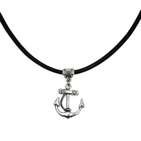 Handmade Jewelry by Dawn Unisex Anchor Leather Necklace (USA)