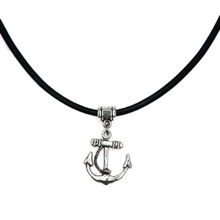 Handmade Jewelry By Dawn Unisex Anchor Leather Necklace USA